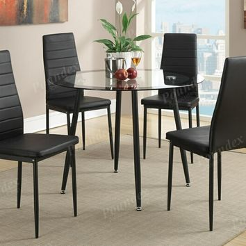 5 pc Mid Century collection round glass top and black faux leather table and chairs