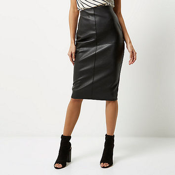 Black faux leather panel pencil skirt - Midi Skirts - Skirts - women