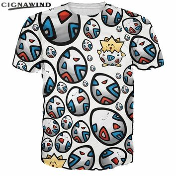 New Cartoon cute egg Togepi Printed 3d t shirt men women summer top Anime  t-shirts unisex hip hop streetwear tee shirtsKawaii Pokemon go  AT_89_9
