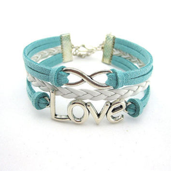 Bracelet, LOVE, a gift, wax line, woven leather, antique silver, the maid of honor, boyfriend, girlfriend, infinite.B46
