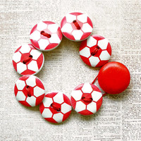 Red Soccer Wooden Button Bracelet - Small