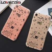Airship Astronaut Stars Space UFO Soft TPU Phone Case For Iphone 5 5S SE 6 6S Plus 7 7 Plus Phone Back Cover Coque Funda YC2023