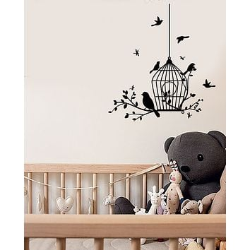 Vinyl Wall Decal Bird's Cage Nature Decor For Nursery Stickers (3734ig)