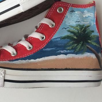 mountains and beach landscape scene hand painted custom converse