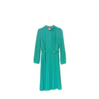 Pleated Teal Dress With Asymmetric Button Line And Bow, Warm Long Sleeve Dress With Fabric Belt, Vintage Winter Dress
