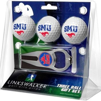 Southern Methodist University Mustangs 3 Ball Gift Pack with Hat Trick Divot Tool