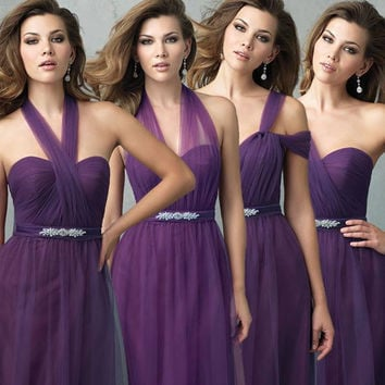 Cheap Purple 2016 Summer Convertible Bridesmaid Dresses For Beach Wedding Party Beaded Long Prom Gowns vestido de festa ZY3049