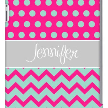 Half Chevron Polka Dot Personalized iPad 2, 3 & Retina Slim Case