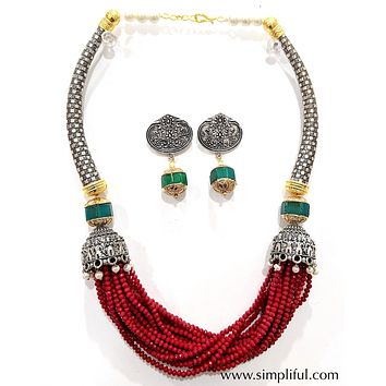Oxidized multi stranded beaded Statement Necklace and Earring set