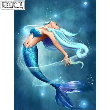 5D Diamond Painting Blue Hair Mermaid Kit