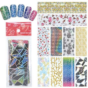 YWK 1 Pack(10Pcs) DIY Nail Art Transfer Foil Decal Beauty Craft Decorations Accessories For Manicure Salon #XKT-N22