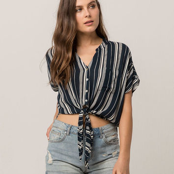 PATRONS OF PEACE Stripe Tie Front Womens Top