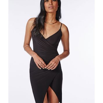 Missguided - Slinky Strappy Asymmetric Bodycon Dress Black