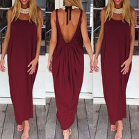 Ladies Red/Burgundy Casual Deep Scoop Back Solid Tank Maxi Dress