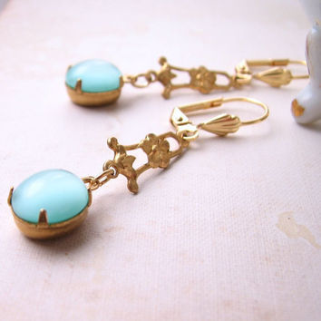 spring jewelry Aqua mint earrings with vintage by shadowjewels
