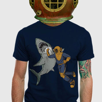 Shark Punch T-shirt // American Apparel // Navy // Available Men's S, M, L, XL, 2XL