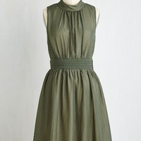 Mid-length Sleeveless A-line Windy City Dress in Green Dots