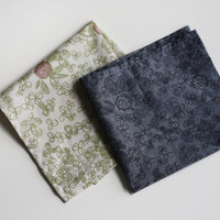 Organic Cotton Handkerchief blue clover by jennarosehandmade