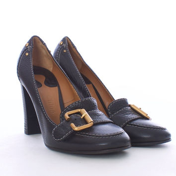CHLOE' Oxford Pebbled Black Leather Gold Buckle Pumps Size 40 Euro