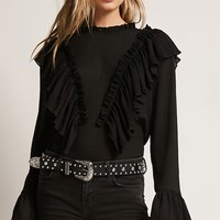Sheer Crepe Ruffle Top
