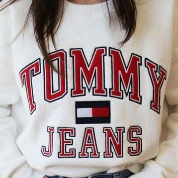 Tommy Hilfiger Fashion Women Logo Print Round Collar Sweatshirt Pullover Top Sweater White I