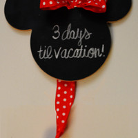 Custom Minnie Mouse SMALL Magnetic Chalkboard with Ribbon & Chalk - Fish Extender Gift