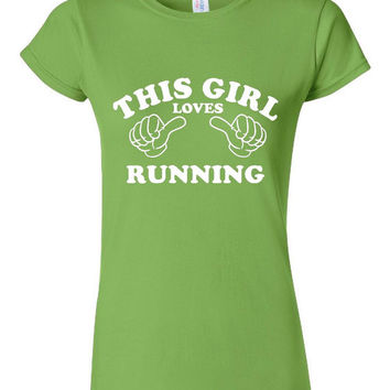 THIS GIRL Loves RUNNING Runners Graphic Tee Great For Marathon Cross Country Track Lovers Womans Fitted Junior Fit Unisex Running Tee