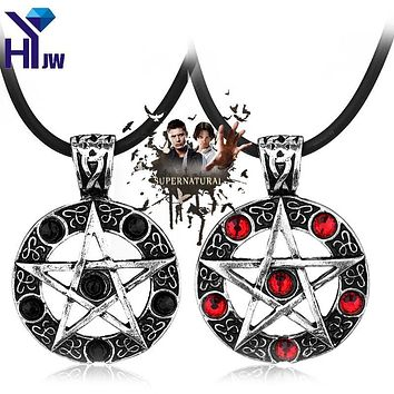 Supernatural Series Pentagram Pendant Necklace With Rope Chain Dean Winchester Star Necklaces Silver Plated Jewelry
