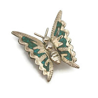 Vintage 925 Mexico Silver Butterfly Brooch - Small Stone Mosaic Inlay Pin Turquoise Blue Green Stone Made in Mexico Stamped Jewelry Sterling