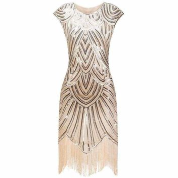 Cap Sleeve Sequin Flapper Dress