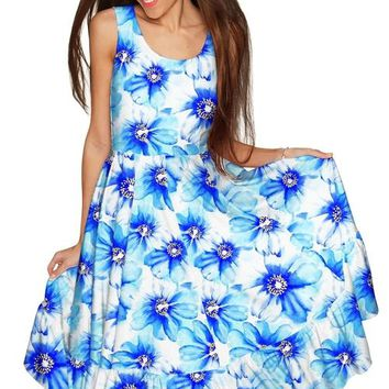 Aurora Fit & Flare Midi Blue Floral Dress