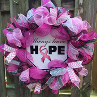 Breast Cancer Awareness Wreath, Pink Deco Mesh Wreath, Support Wreath, Awareness Wreath, Hope Wreath, Front Door Wreath, Pink Wreath