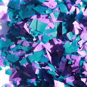 Confetti // tissue paper // purple & teal // mermaid party // birthday party // table decorations