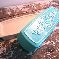 Turquoise Butter Dish Vintage Kitchen by VintageShoppingSpree