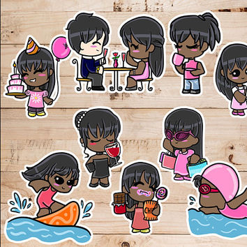 Instant Download Sale Dark Skinned Chibi Girl LEISURE Inspired Clip Art, Instant Download, PNG File, Clip Art, Chibi Art, ScrapBook, Sticker
