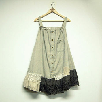 L/XL Shabby Boho Chic Pinafore Dress, Mori Girl Tunic, Jumper, Smock, Women's Upcycled Clothing, Eco Friendly by Primitive Fringe