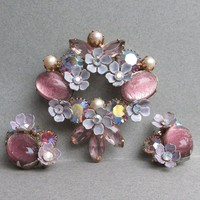 Vintage Signed KRAMER Lavender & Pink Foil Glass Cabochon, Rhinestone FLOWER Pin + Converted Earrings Set