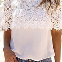 White Off-Shoulder Floral Crochet Lace Blouse