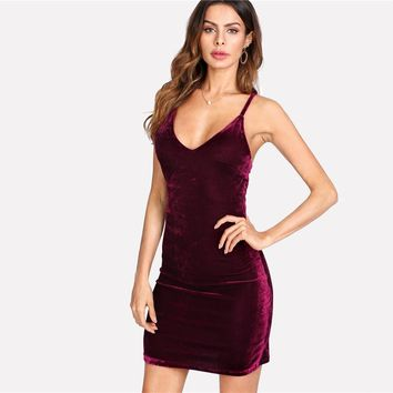 Fashion  Dress Women Backless Lace Up Open Back Velvet Cami Dress  Sexy Dress