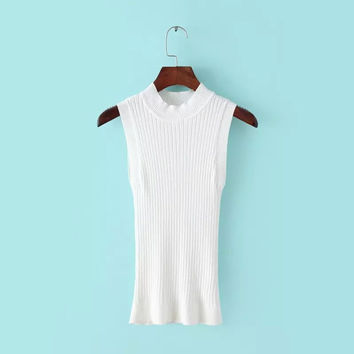 Autumn Sleeveless Pullover Knit Tops [8805257159]