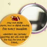 Handmade pocket mirror our/YOUR PERSONAL PICTURE customised gift idea, unique, makeup, love, valentine, christmas, occasion