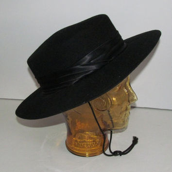 Classy Lady Classic Black Hat Womens Wide Brim Hat Satin Band Sun Hat with Strap