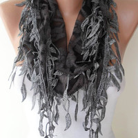 Dark Grey Scarf with Dark Grey Trim Edge Shaped by SwedishShop