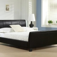 Time Living | Winchester Brown Faux Leather Bed Frame | bedsdirectuk.net