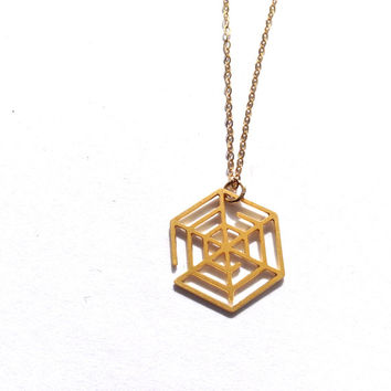 Spider Web Necklace Charm Spider Web Pendant Halloween Jewelry Charm Gold Web Silver Beep Studio Nature Animal Anatomy Science Geek Unisex