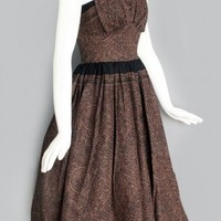 1950's Brown & Black Print Halter Sun Dress VINTAGE SUMMER DAY DRESSES: 50'S, 60'S :