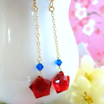 Ruby red quartz star dangle earrings, wonderwoman star earrings, Fourth of July earrings