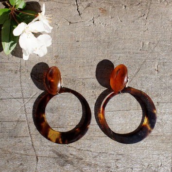 1930's Tortoise Shell Hoop Earrings Convertible Clip On Studs