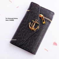 Samsung Galaxy Note 3 wallet - Anchor phone case - Samsung Note 3 leather - Samsung note 3 wallet - zipper wallet- Samsung Note 3 case cover