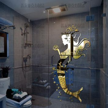 New style Mermaid princess bathroom glass tile mirror three-dimensional wall stickers Sexy fashion decoration